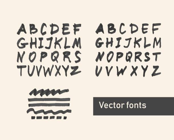 Set of vector hand drawn alphabet for design, presentation, advertising banner Set of vector hand drawn alphabet for design, presentation, advertising banner make up brush stock illustrations