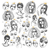 Set of vector hand drawn beautiful women head with golden crown of princesses on a white background. Black and white monochrome sketch, adult and children coloring book page, tee shirt print
