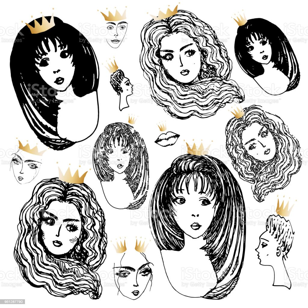 Set Of Vector Hand Drawn Beautiful Women Head With Golden Crown Princesses On A White