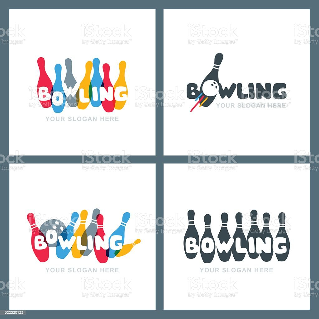 Set of vector hand drawn bowling icons and emblems. vector art illustration