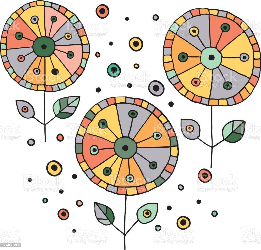 Ilustracion De Conjunto De Flores Infantiles Hechos A Mano De Vector