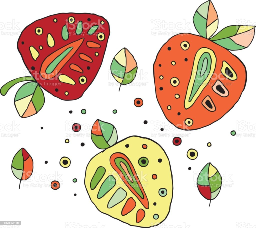 Ilustración de Conjunto De Vector Mano Dibujadas Frutas Jugosas ...