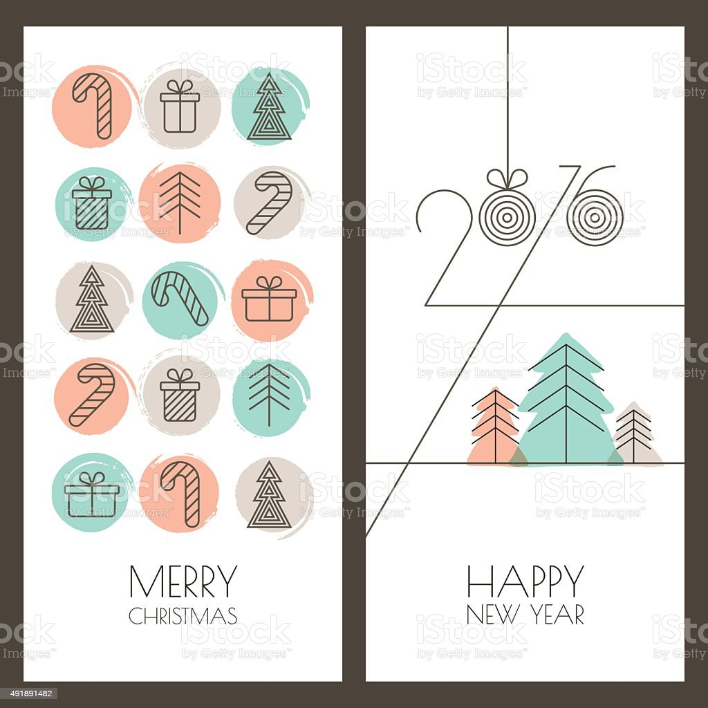 Set Of Vector Hand Drawn Christmas New Year Greeting Cards Stock