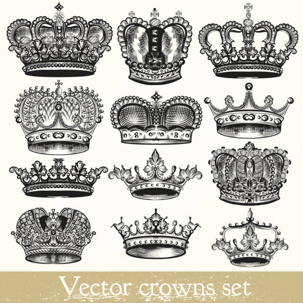 Set of vector hand drawn crowns in vintage style Collection of vector hand drawn crowns in vintage style engraved image stock illustrations