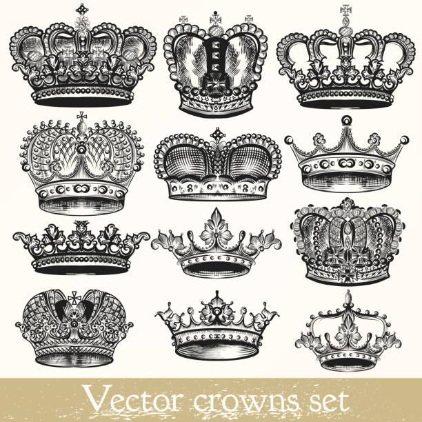 satz von vektor hand drawn kronen im vintage-stil - gravur stock-grafiken, -clipart, -cartoons und -symbole
