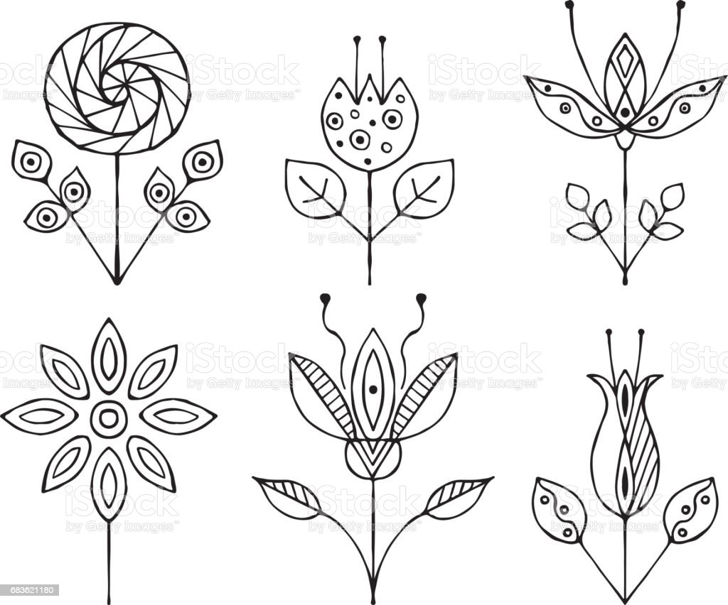 set of vector hand drawn decorative stylized black and white