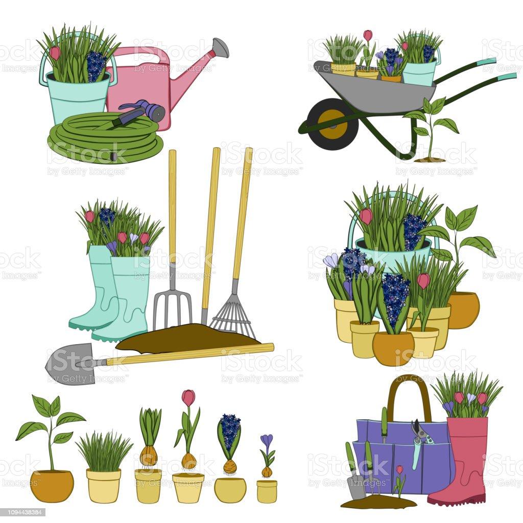 Les Outils De Jardinage Avec Photos ensemble de vecteur À la main des Éléments dessinés