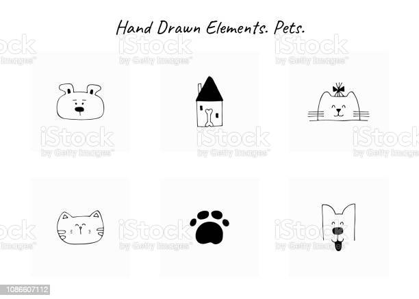 Set of vector hand drawn icons domestic animals label elements for vector id1086607112?b=1&k=6&m=1086607112&s=612x612&h=c1jxothuvijf8vbqqxuhfdojwfyymob3vzdjstsrhwe=