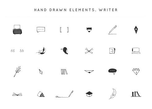 Set of vector hand drawn icons. Writing, copywrite and publishing theme.
