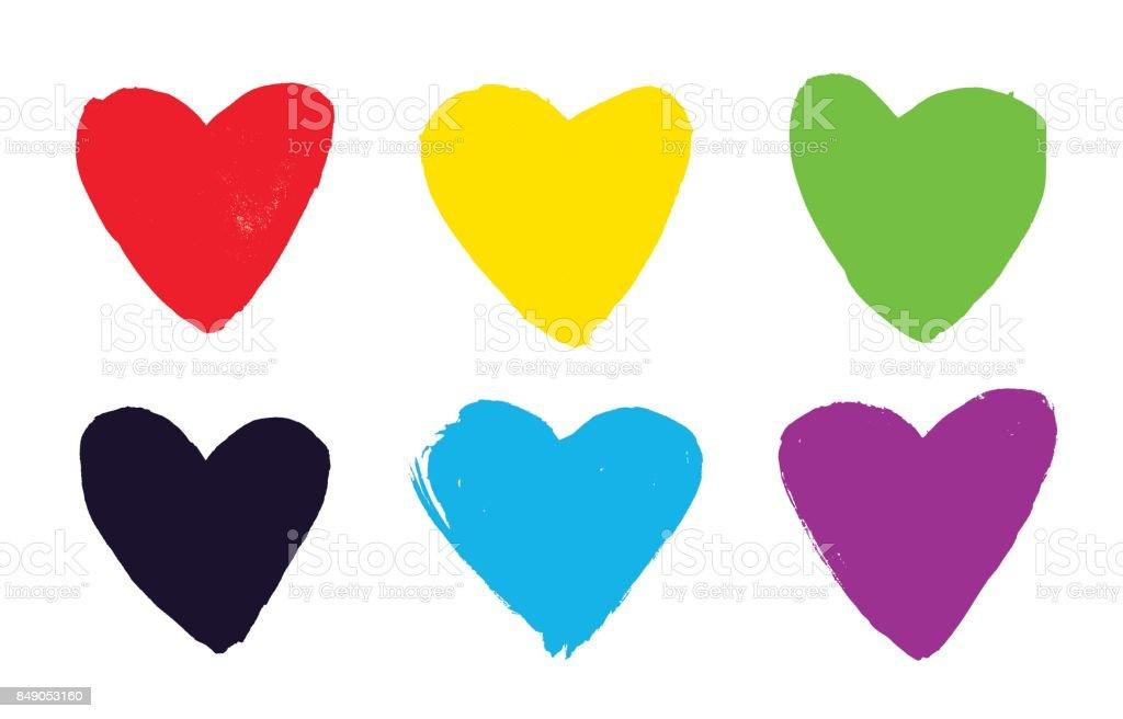 Set of vector hand drawn multicolor hearts vector art illustration