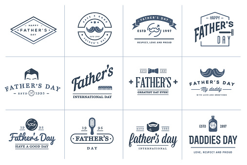 Set of Vector Happy fathers day. Typography Vintage Icons. Lettering for greeting cards, banners, t-shirt design.