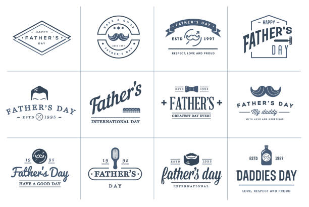 Set of Vector Happy fathers day. Typography Vintage Icons. Lettering for greeting cards, banners, t-shirt design. Set of Vector Happy fathers day. Typography Vintage Icons. Lettering for greeting cards, banners, t-shirt design. fathers day stock illustrations