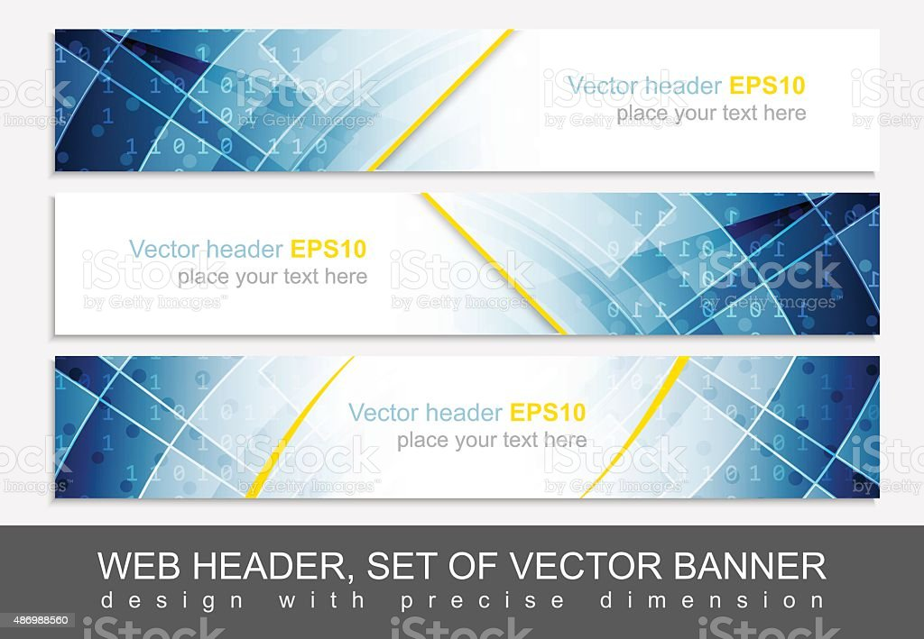 web header set of vector header or banner design with precise dimension stock