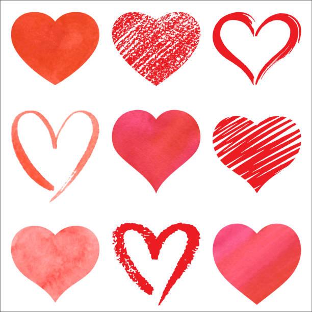 illustrations, cliparts, dessins animés et icônes de ensemble de coeurs de vecteur - coeur