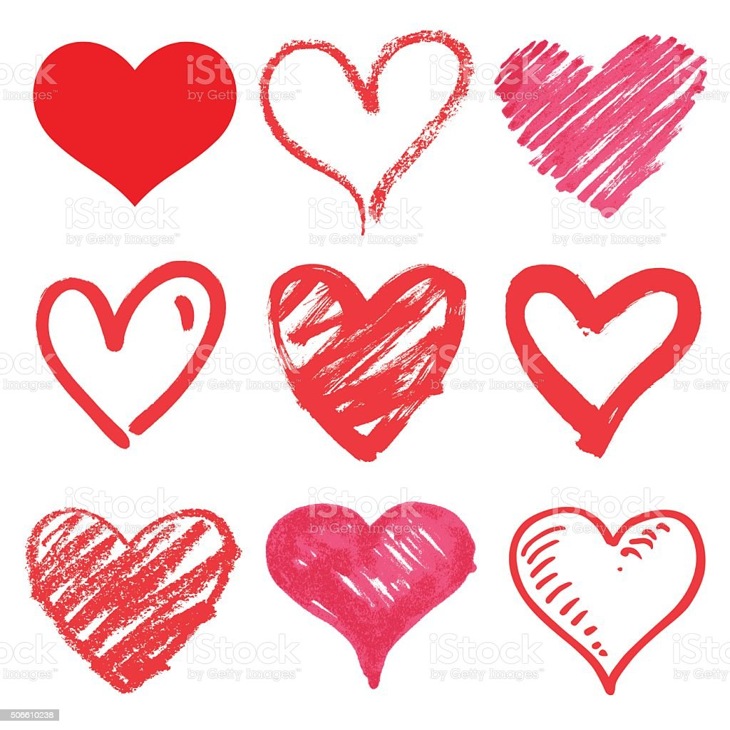 set of vector hearts vector art illustration