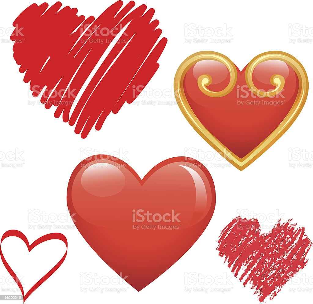 Set of vector hearts royalty-free set of vector hearts stock vector art & more images of art