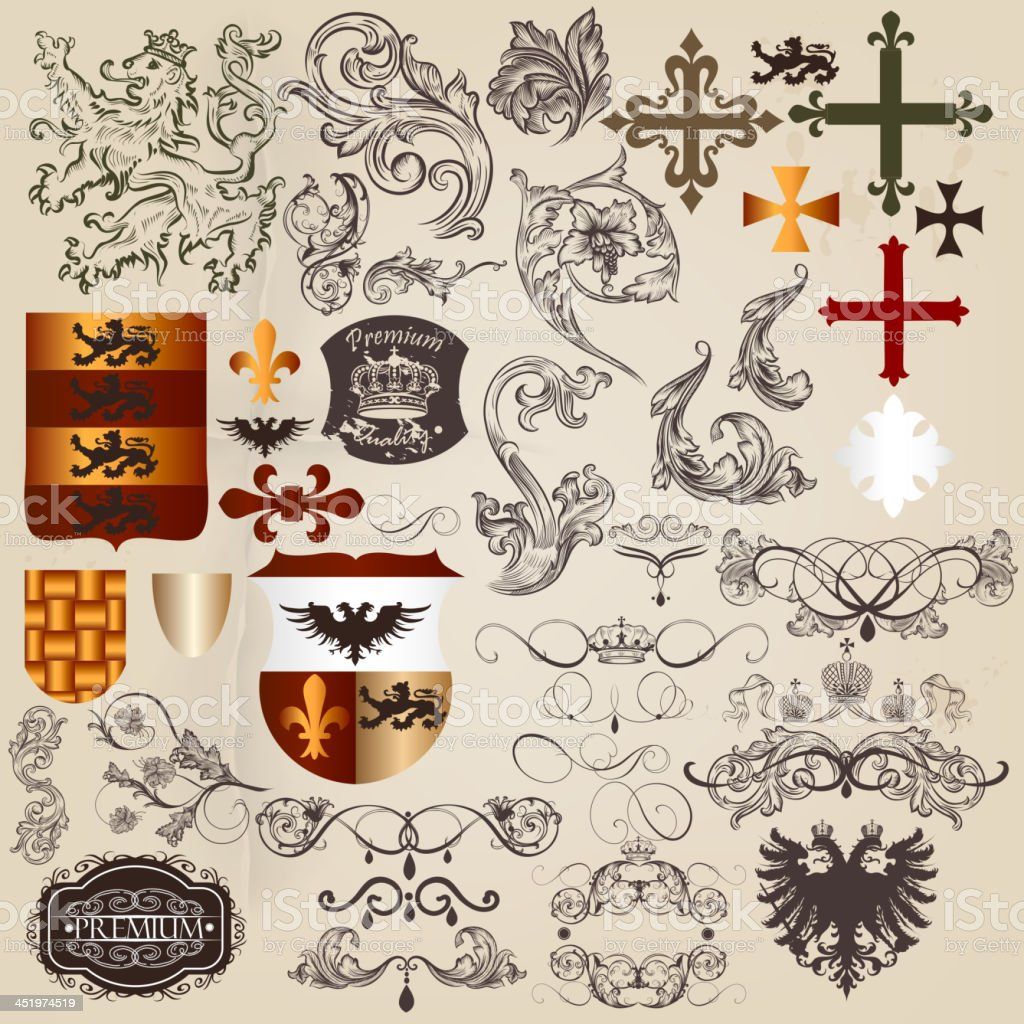 Set of vector heraldic elements in vintage style vector art illustration