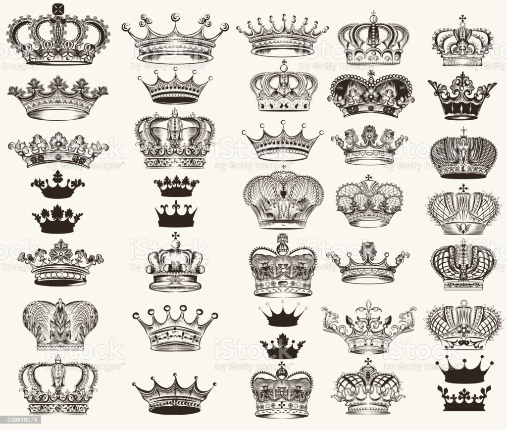 Set of vector high detailed crowns for design vector art illustration