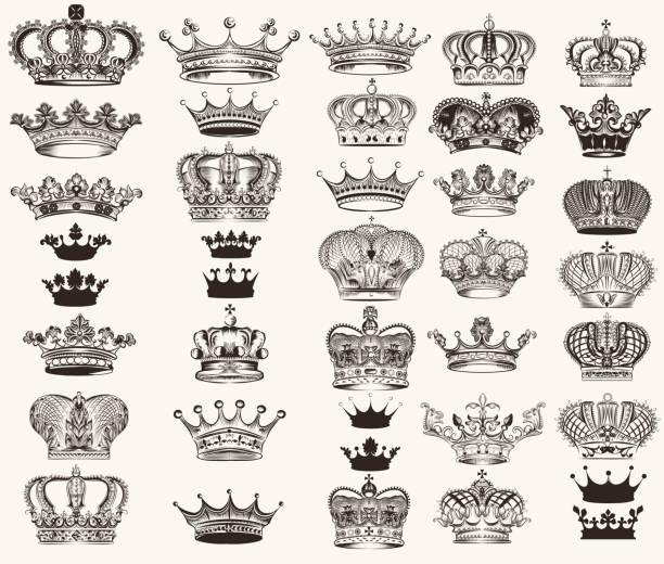 Conjunto de vector de diseño de corona de alta detallada - ilustración de arte vectorial