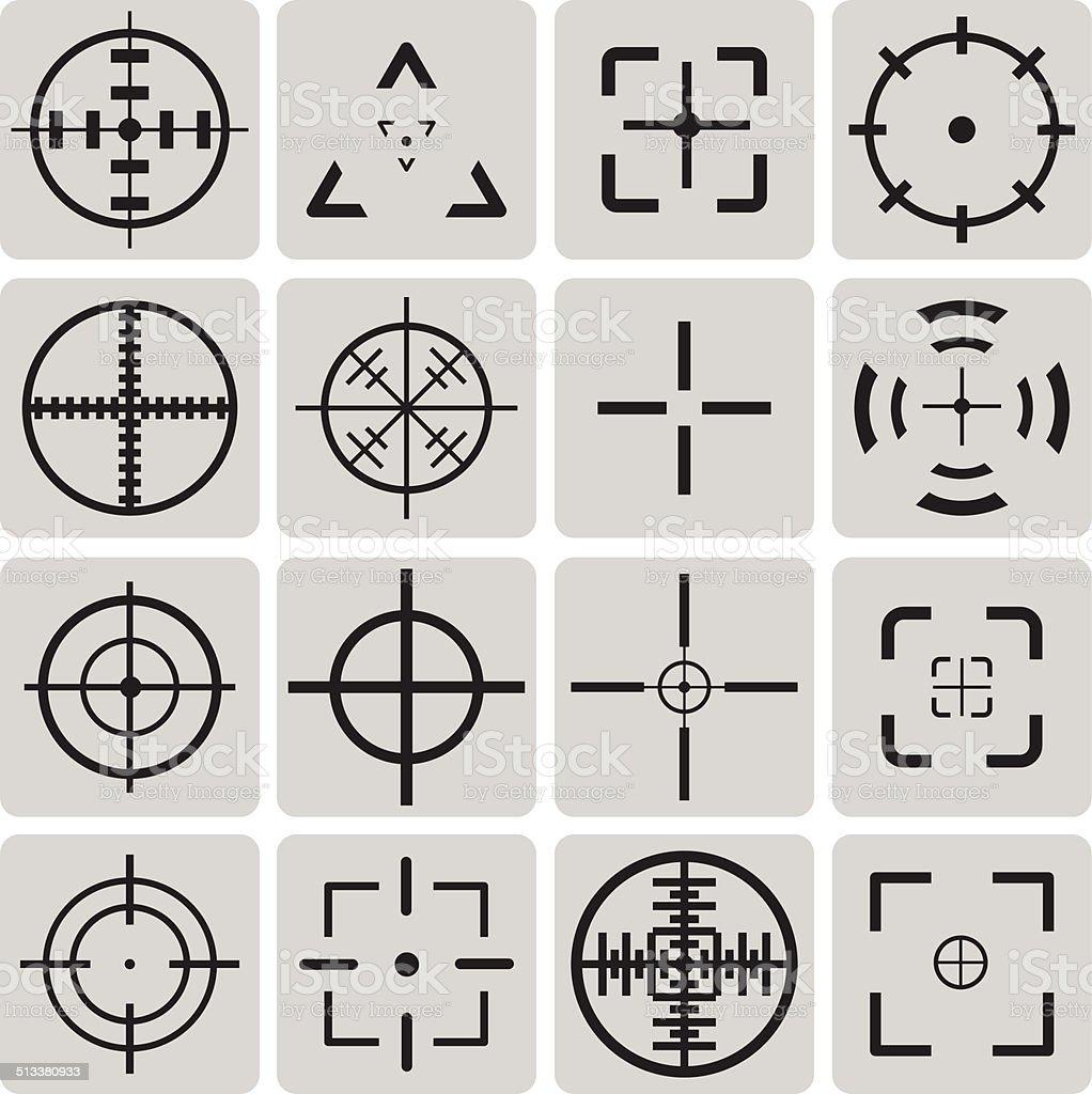 Satz von Vektor-sehr detaillierte crosshairs Schwarze Symbole set1. – Vektorgrafik