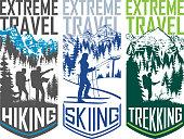 set of vector hiking skiing trekking  travel flayer illustration