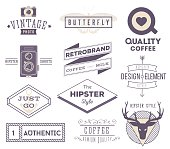 set of vector hipster modern labels, icons, logos isolated on white background