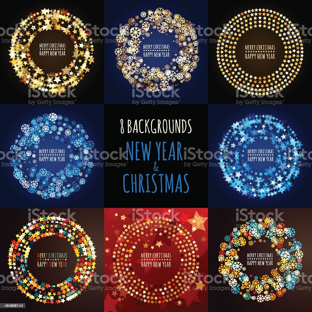 一連のベクトルの背景。クリスマスと新年のグリーティングカード ベクターアートイラスト