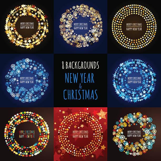 一連のベクトルの背景。クリスマスと新年のグリーティングカード - 休日/季節ごとのイベント点のイラスト素材/クリップアート素材/マンガ素材/アイコン素材