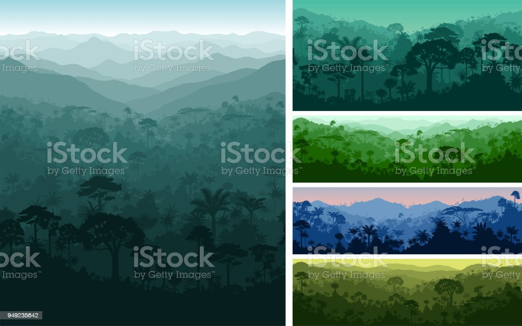 set of vector horizontal seamless tropical rainforest Jungle backgrounds royalty-free set of vector horizontal seamless tropical rainforest jungle backgrounds stock illustration - download image now