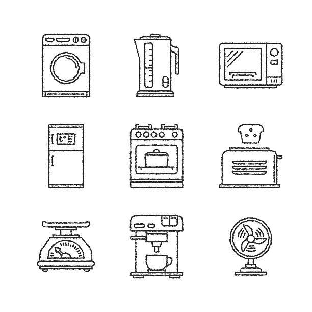 ilustrações de stock, clip art, desenhos animados e ícones de conjunto de vetor ícones e conceitos de aparelhos de uso doméstico - baking bread at home