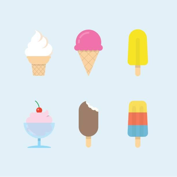Set of vector ice cream icons Set of ice cream icons. Vector ice cones, popsicles and ice cream balls in cups. Modern flat vector design. ice cream sundae stock illustrations