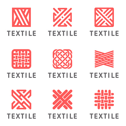Set of vector icon design for shop knitting, textile