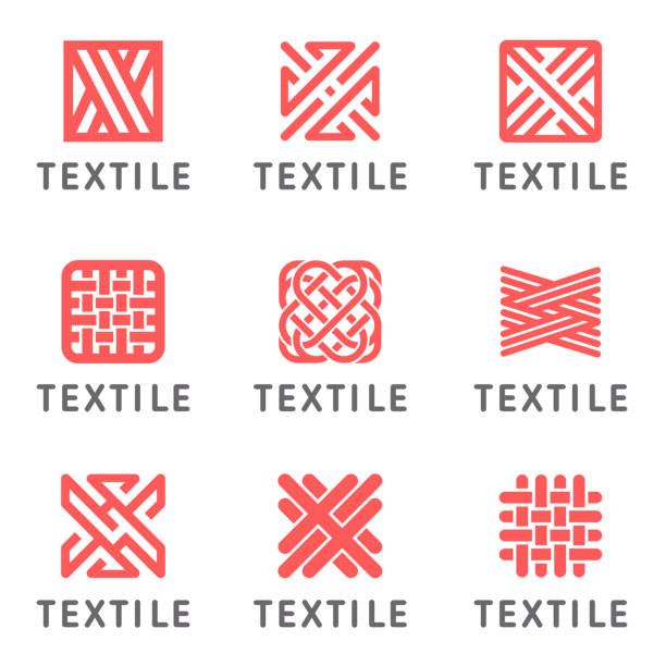 Set of vector icon design for shop knitting, textile Set of vector icon design for shop knitting, textile alphabet symbols stock illustrations