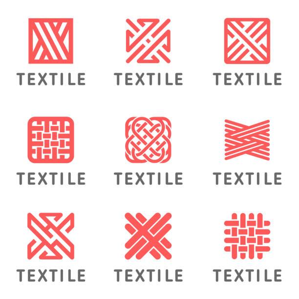 stockillustraties, clipart, cartoons en iconen met set van vector pictogram ontwerp voor winkel breien, textiel - textiel