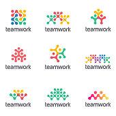 Set of vector icon design for social media, teamwork