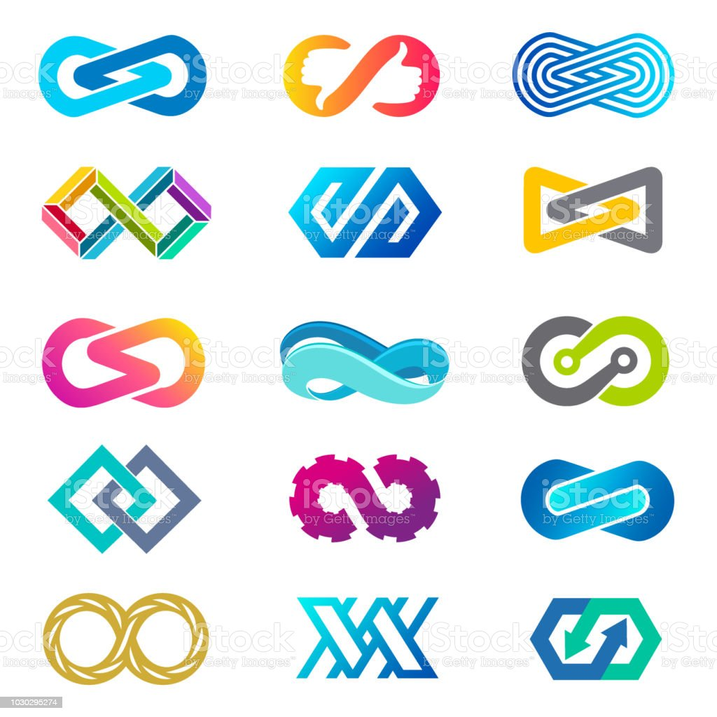 Set of vector icon template for business. Infinity signs vector art illustration