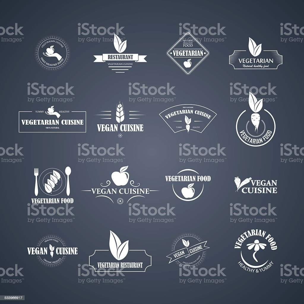 Set of vector icons and elements for organic food vector art illustration