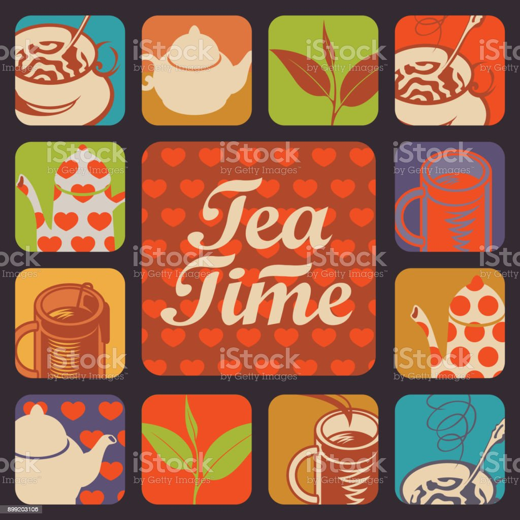 set of vector icons and logos for tea time vector art illustration
