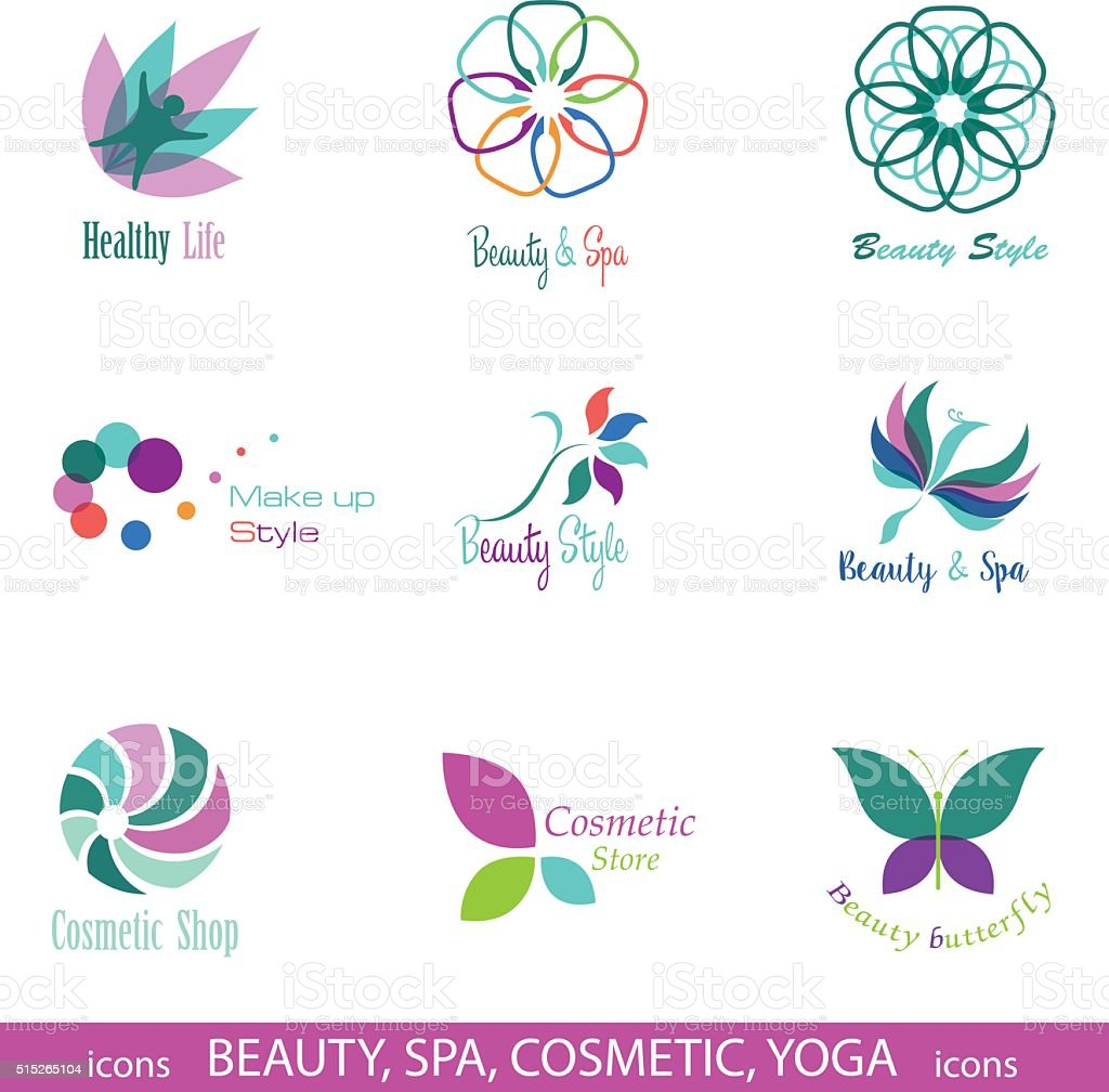Set Of Vector Icons And Symbols For Beauty Spa Cosmetic Stock Vector