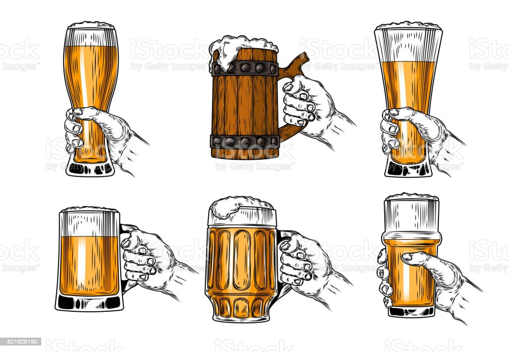 Set of vector icons beer glasses vector art illustration