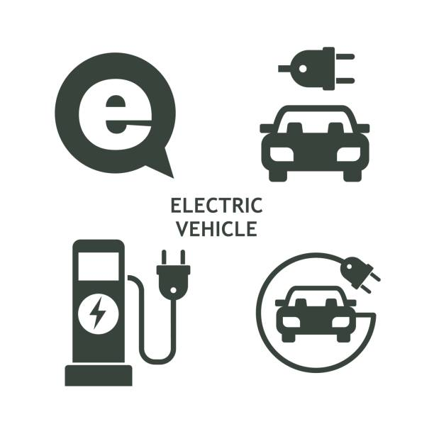 Set of vector icons.  Electric vehicle. Service of electric vehicles. Set of vector icons.  Electric vehicle. Service of electric vehicles. electric vehicle charging station stock illustrations