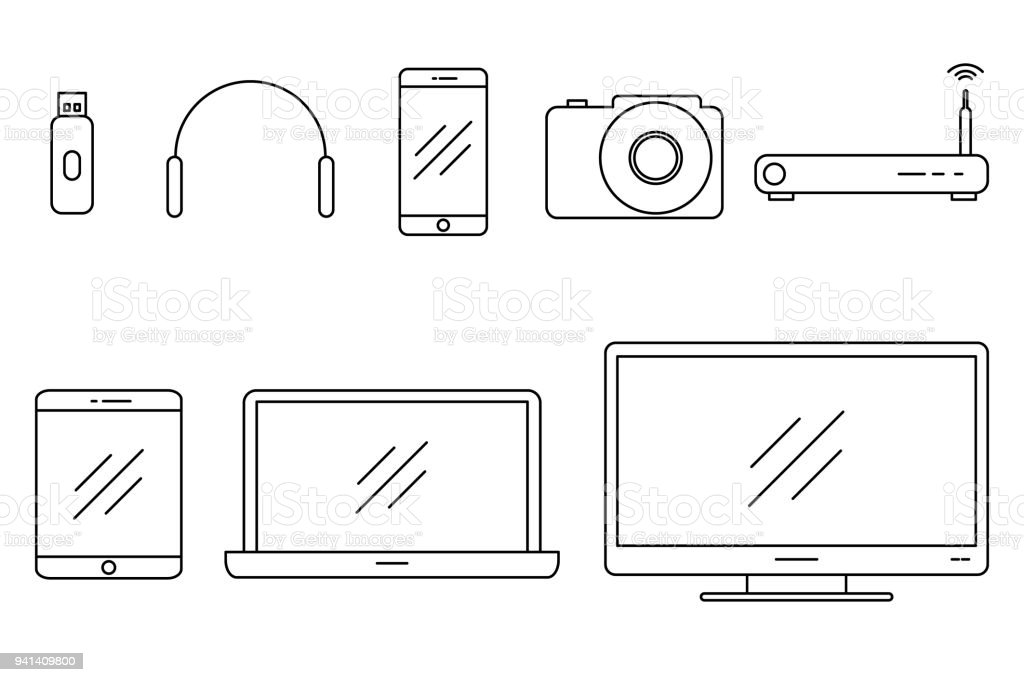 Set of vector icons gadgets vector art illustration