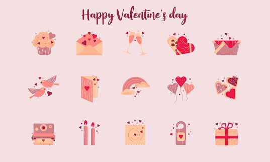 set of vector icons. happy lovers day. Valentine's Day. flat style.
