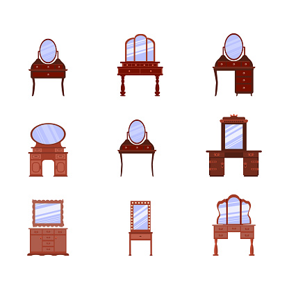 set of vector icons of dressing tables in a flat cartoon style