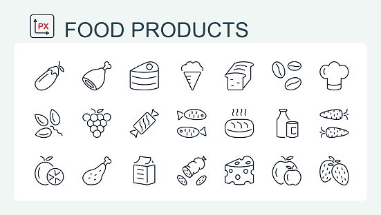 A set of vector icons of fine line, food and drinks. Food products.