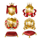 Set of vector icons of heraldic shields with royal golden crowns