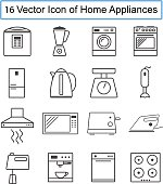 Set of Vector icons of home appliances.
