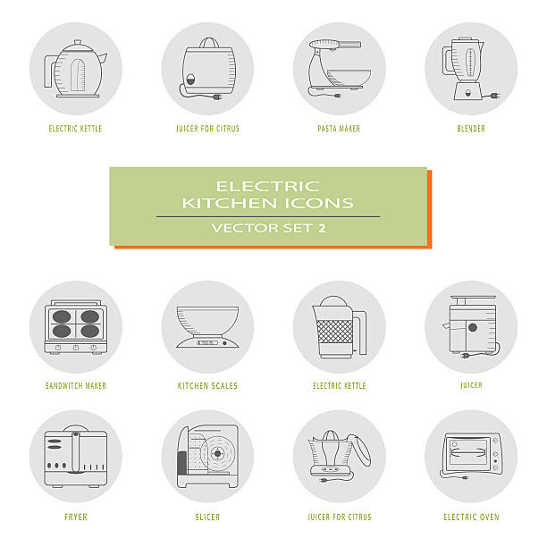 ilustraciones, imágenes clip art, dibujos animados e iconos de stock de set of vector icons of kitchen appliances. - busy restaurant kitchen