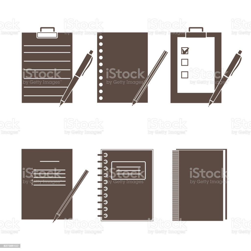 Set of vector icons of office supplies vector art illustration