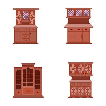 set of vector icons of vintage cabinets in a flat cartoon style
